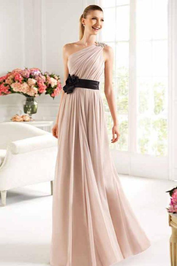 выпускное платье: плиссе с черной лентой