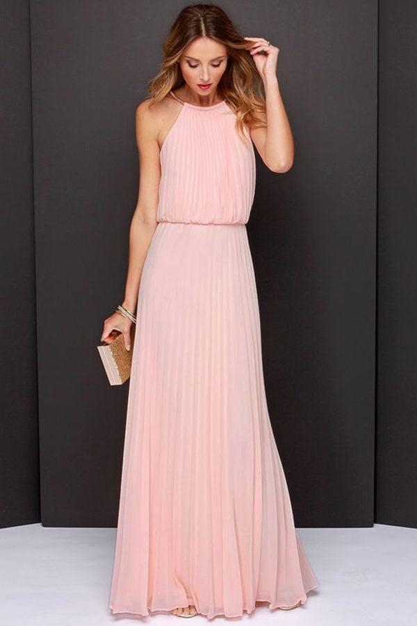 выпускное платье: в пол розовое