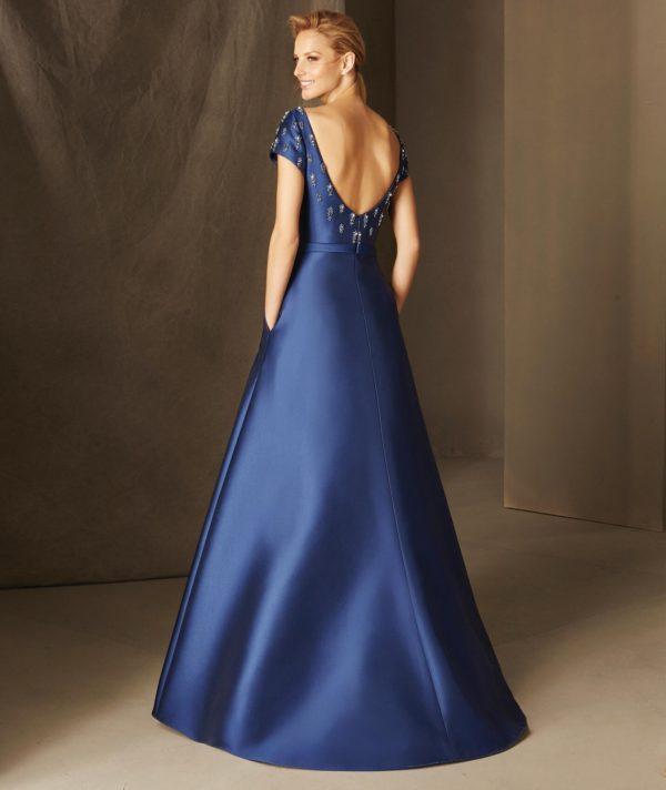 платья на выпускной: Синее с открытой спиной