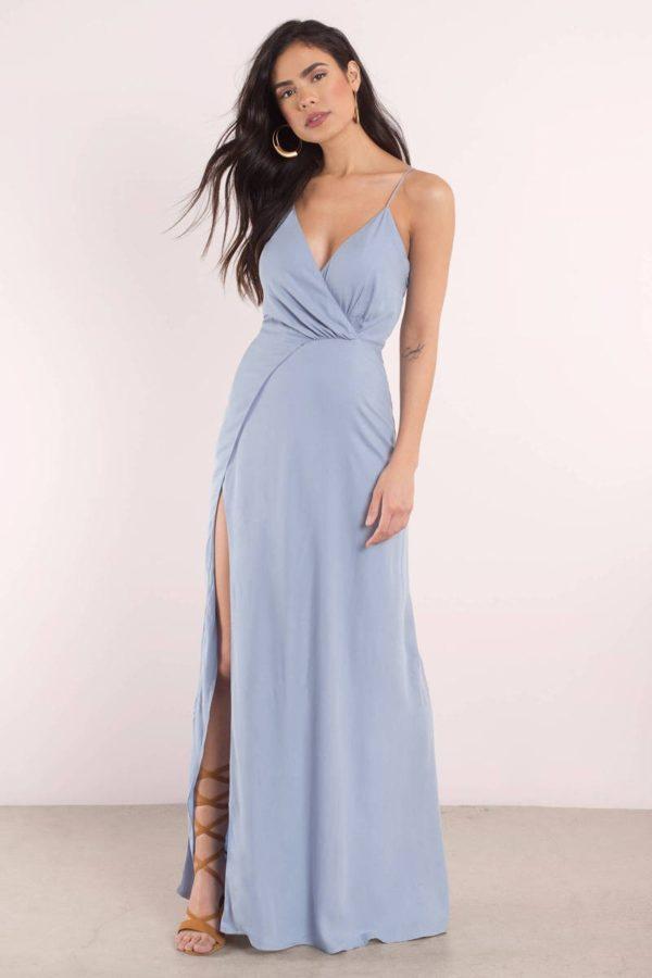 Платья на выпускной 9 класс: Греческое голубое длинное