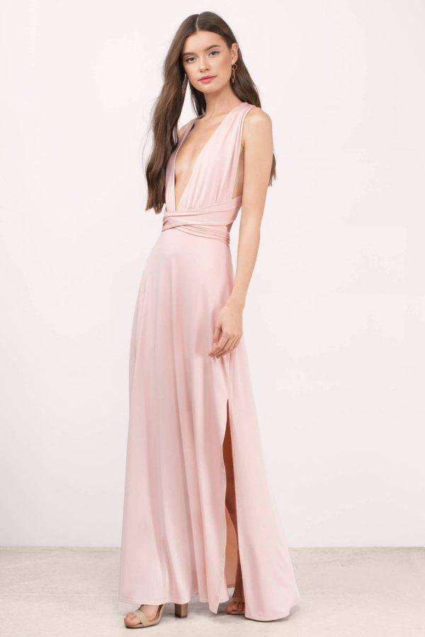 Платья на выпускной 9 класс: греческое розовое длинное