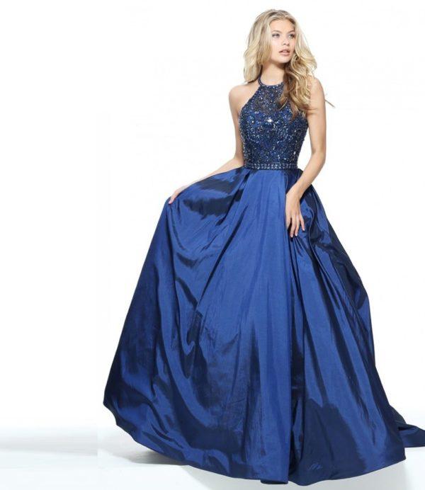 выпускное платье 9 класса: Пышное синее с кружевом