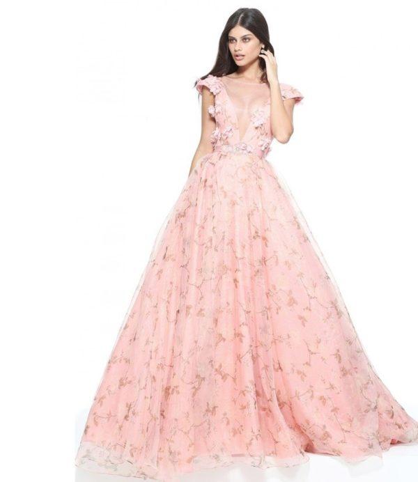 выпускное платье 9 класса: Пышное розовое с принтом
