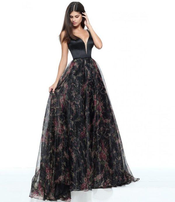 выпускное платье 9 класса: Пышное черное с принтом