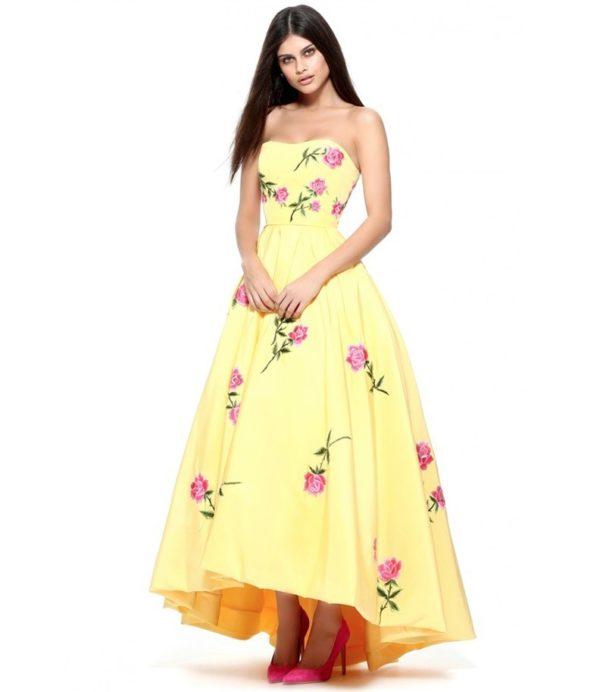 выпускное платье 9 класса: Пышное желтое с цветами