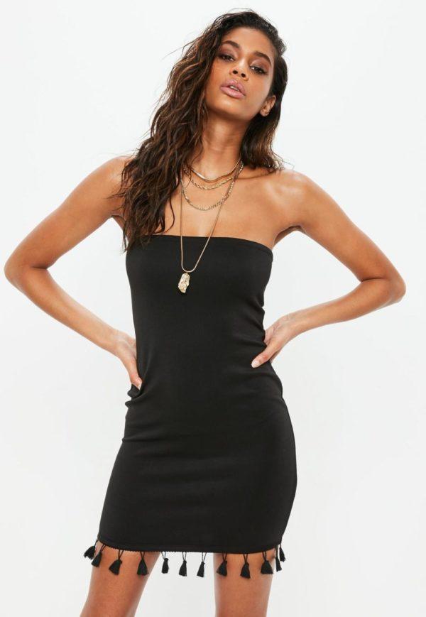 Платья на выпускной 9 класс: Черное с открытыми плечами