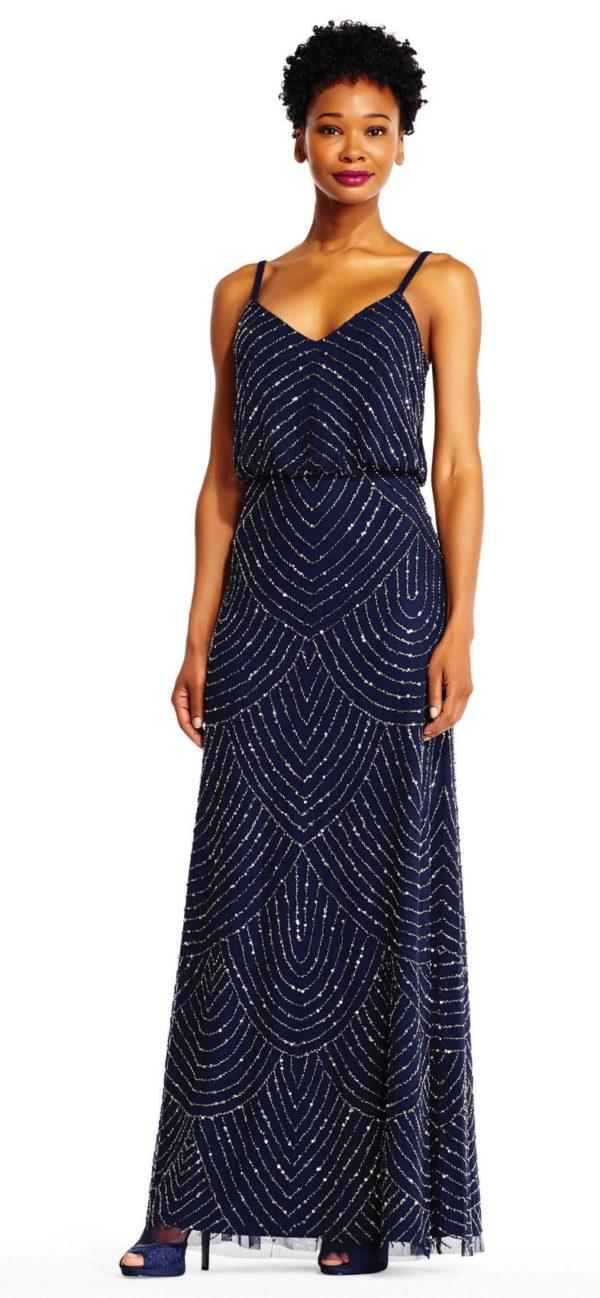 Платья на выпускной 9 класс: Синее греческое с узорами