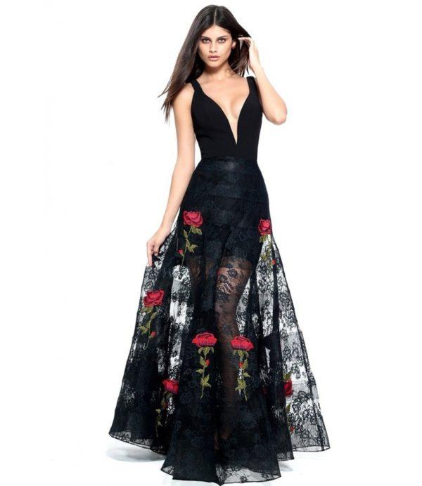 выпускное платье 9 класса: Прозрачное черное с принтом