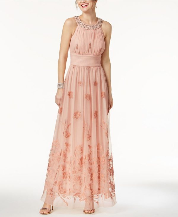 Платья на выпускной 9 класс: розовое греческое с узорами