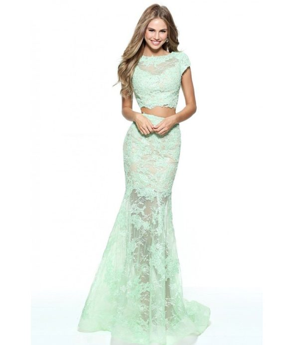 выпускное платье 9 класса: Прозрачное бирюзовое раздельное