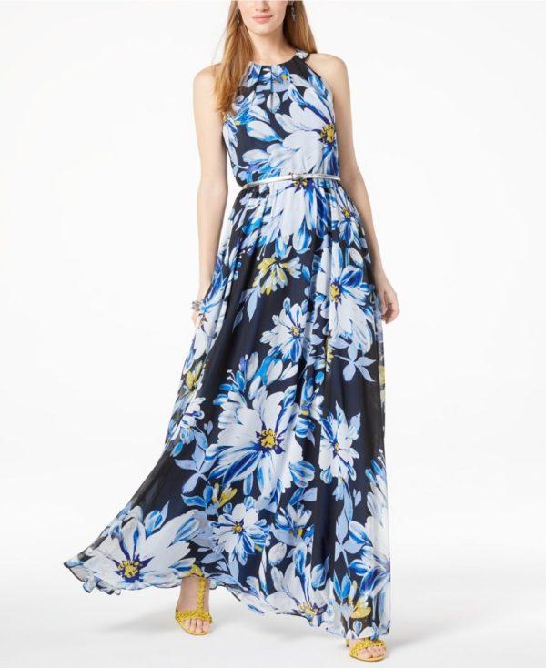 Платья на выпускной 9 класс: черное греческое в цветочек