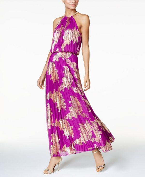Платья на выпускной 9 класс: фиолетовое греческое с принтом