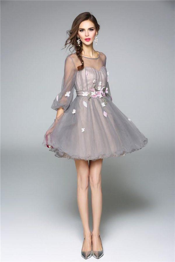выпускное платье 9 класса: Пышное серое короткое