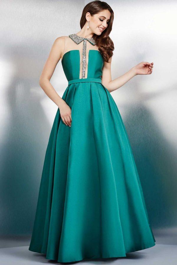 выпускное платье 9 класса: Пышное зеленое длинное