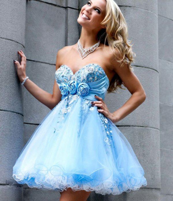 выпускное платье 9 класса: Пышное голубое короткое