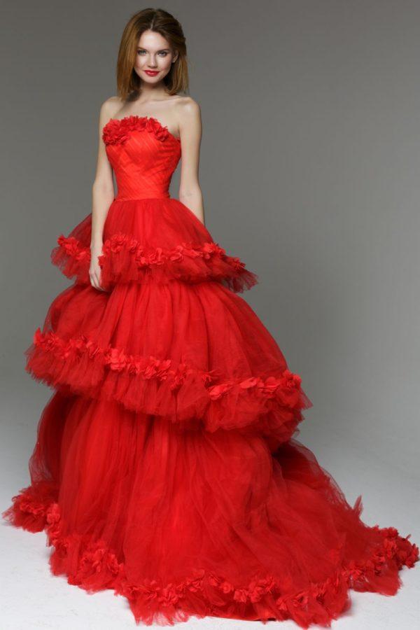 выпускное платье 9 класса: Пышное красное длинное