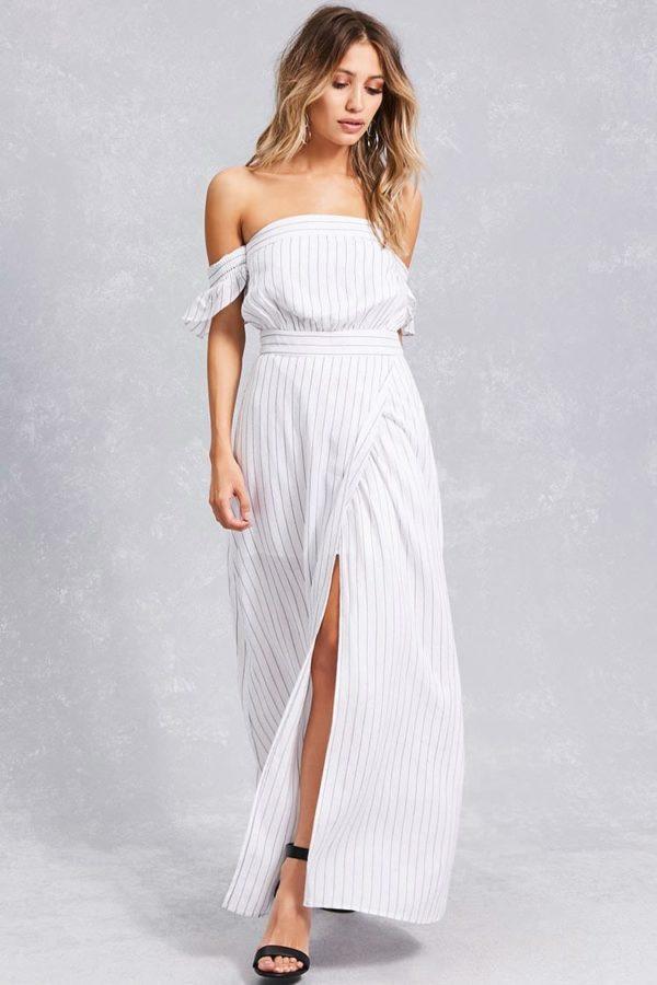Платья на выпускной 9 класс: белое с открытыми плечами