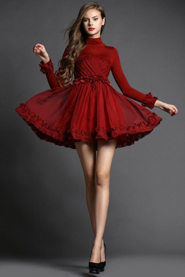 выпускное платье 9 класса: Пышное бордовое короткое