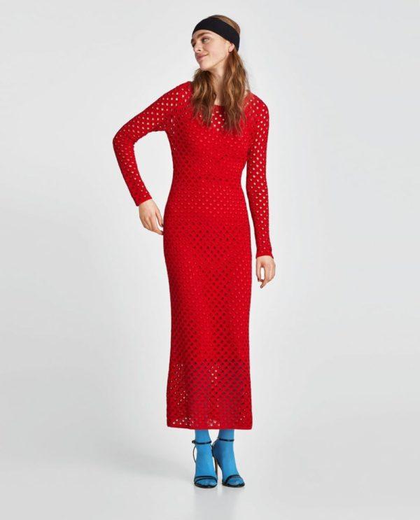платья на выпускной 2019: в сетку красное