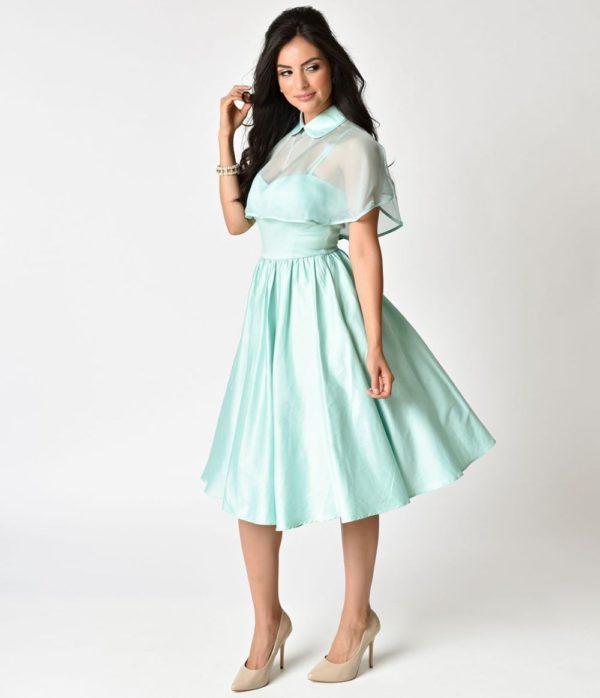 выпускное платье: светло-бирюзовое ретро