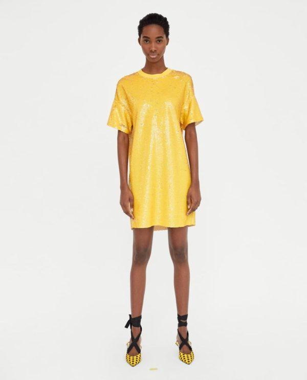 платья на выпускной 2019: желтое
