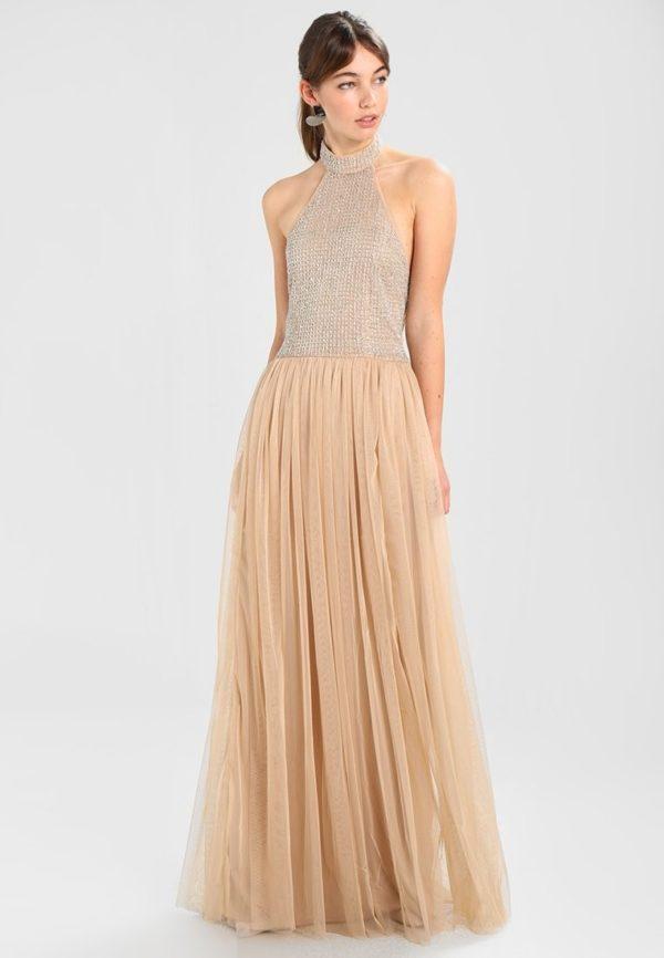выпускное платье: коктейльное золотистое длинное