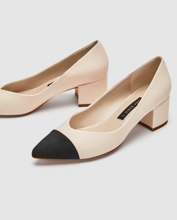 Модные женские туфли: бежевые на толстом каблуке