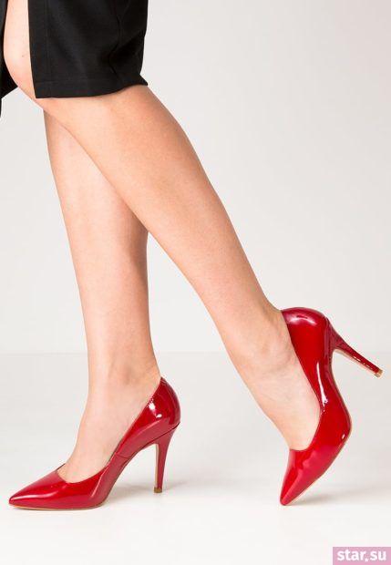 красные Туфли на шпильке осень-зима