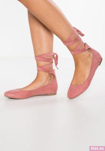 розовые туфли со шнуровкой осень-зима 2018-2019