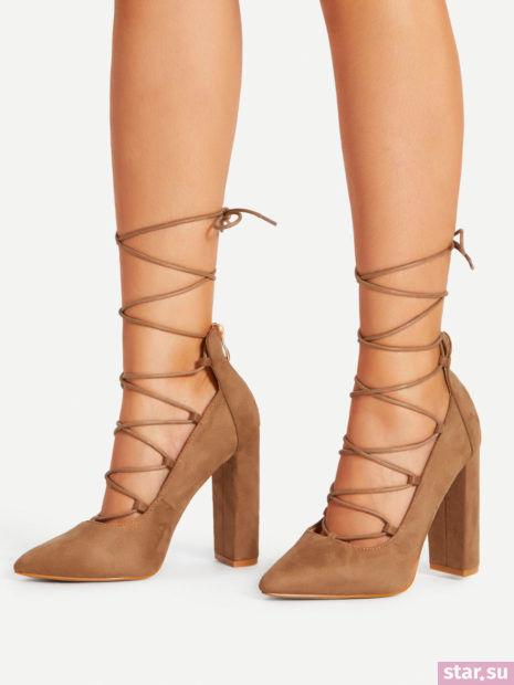 коричневые туфли со шнуровкой осень-зима 2018-2019