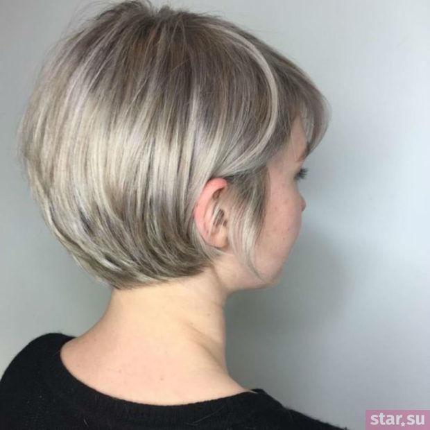 Стрижка боб каре на ножке на короткие волосы