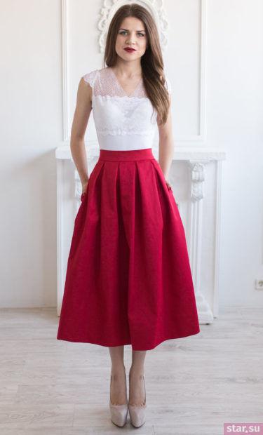 Летняя красная юбка миди 2018 года