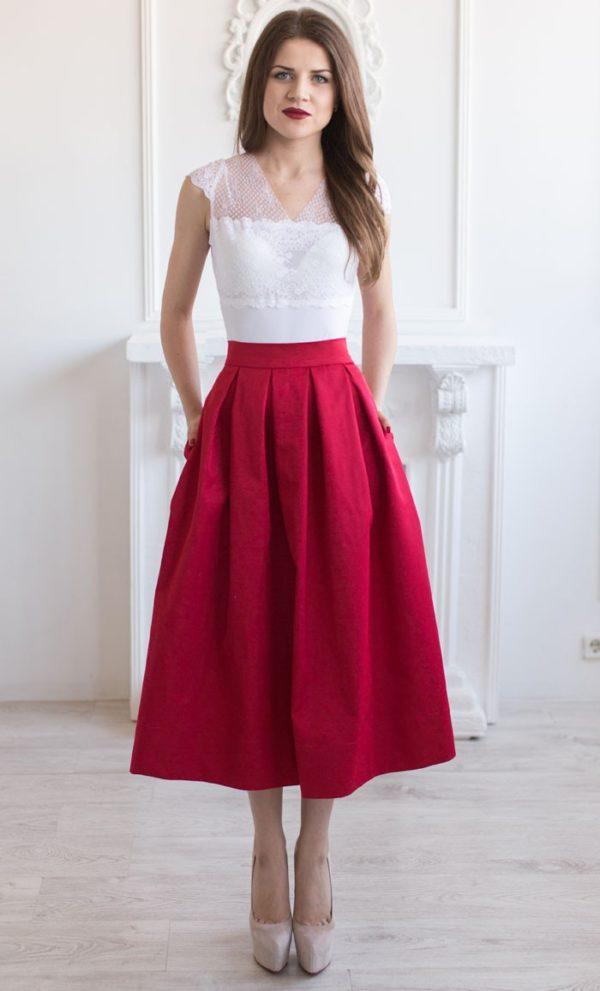 Летняя красная юбка миди 2019 года