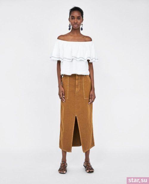 коричневая летняя юбка 2018 года
