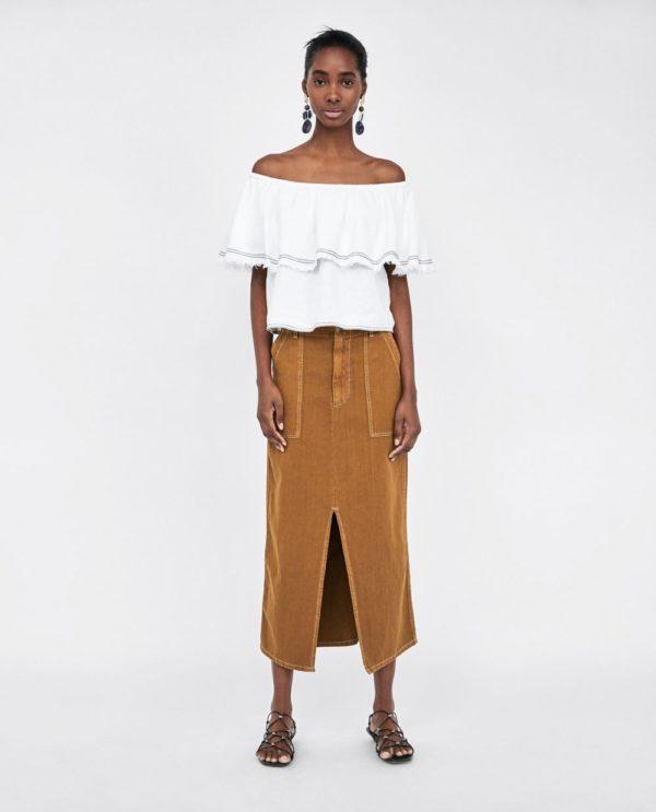 летние юбки 2019 года: коричневая