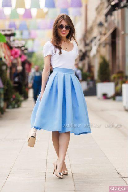 Летняя голубая юбка миди 2018 года