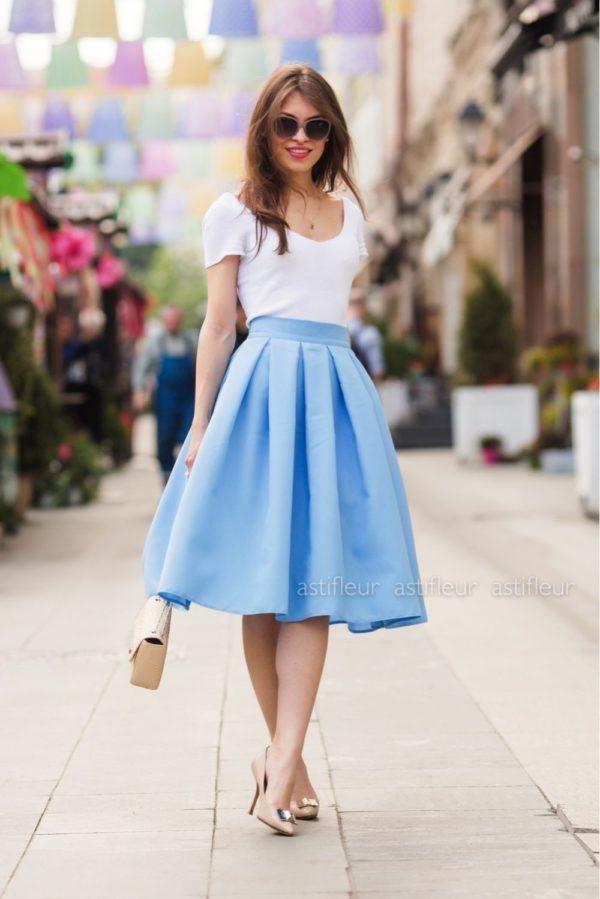 Летняя голубая юбка миди 2019 года