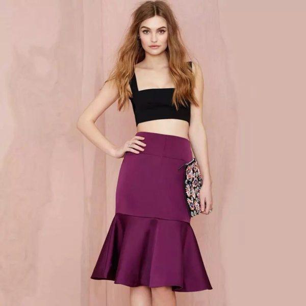 Летняя фиолетовая юбка трампет 2019 года