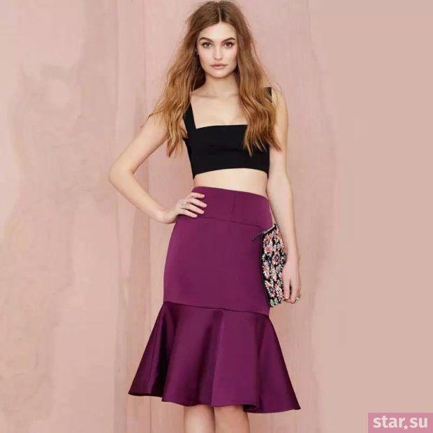 Летняя фиолетовая юбка трампет 2018 года