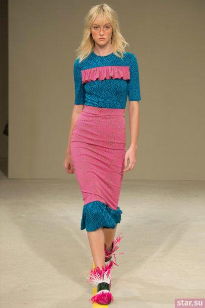Летняя розовая с синим юбка трампет 2018 года