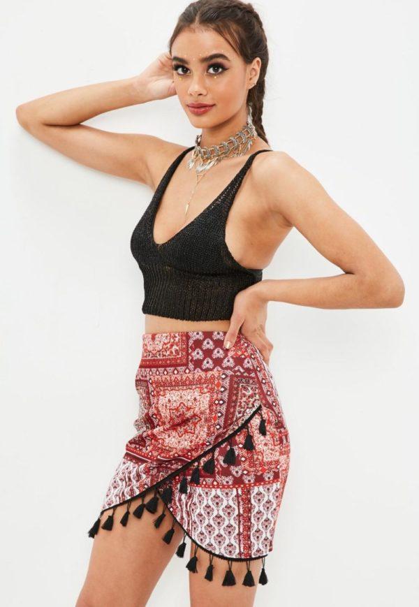 цветная летняя юбка с бахромой 2019 года