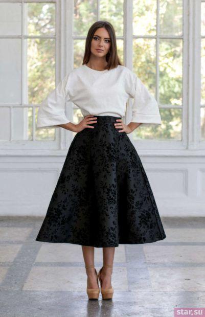 Летняя черная юбка миди 2018 года