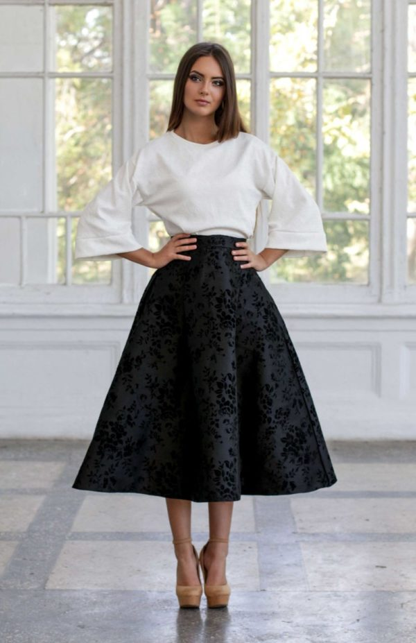 Летняя черная юбка миди 2019 года
