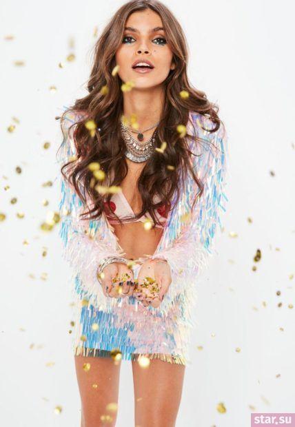 серебряная летняя юбка с бахромой 2018 года