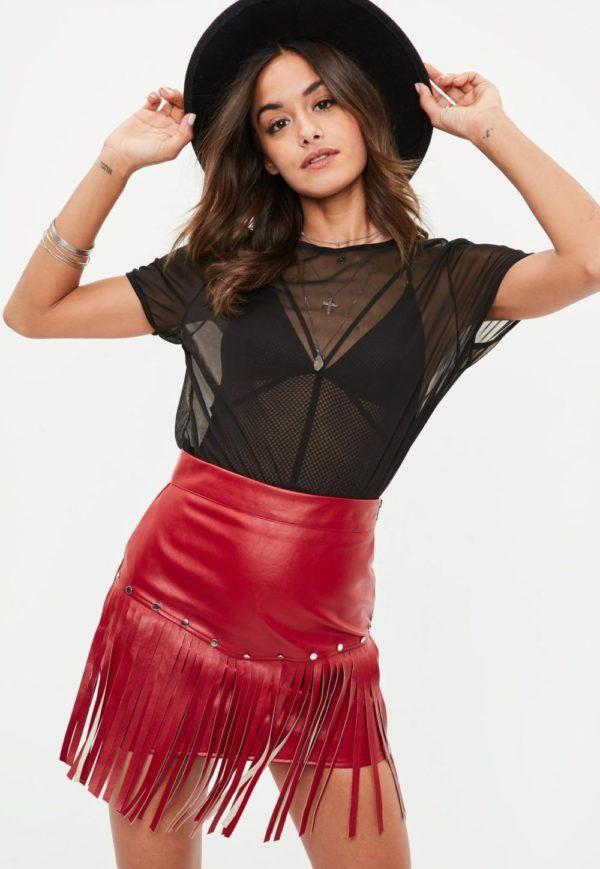 красная летняя юбка с бахромой 2019 года
