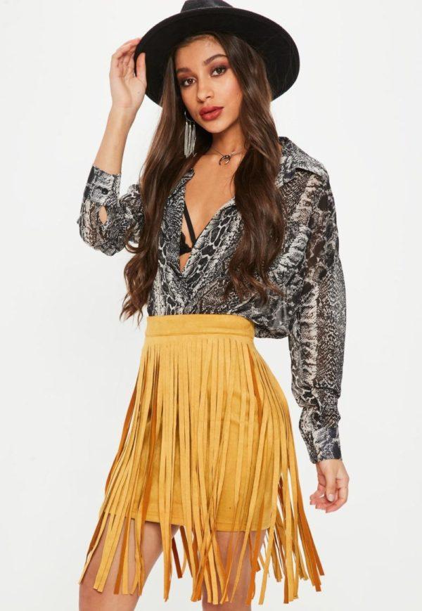 желтая летняя юбка с бахромой 2019 года