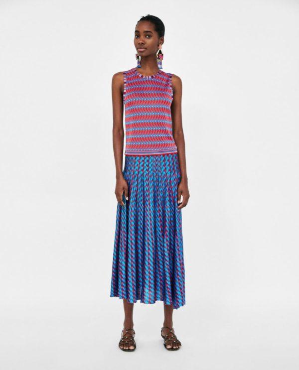 летние юбки 2019 года: синяя