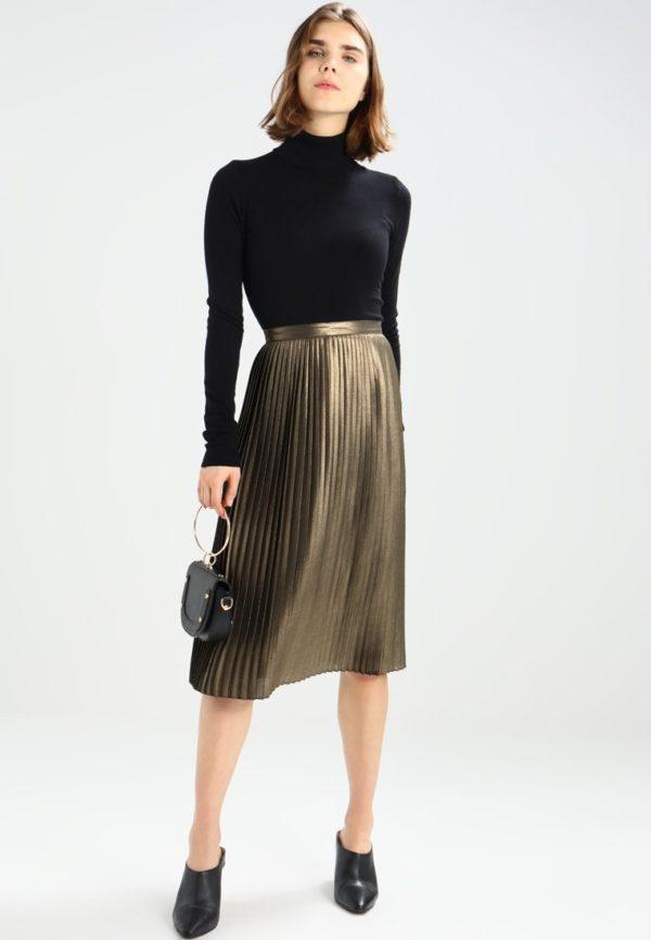 Летняя золотистая юбка плисе 2019 года