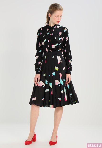 Летняя черная с принтом юбка плисе 2018 года