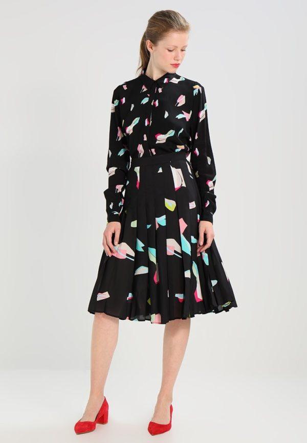 Летняя черная с принтом юбка плисе 2019 года
